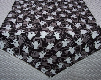 "36"" Table Runner - Halloween Ghosts and Tombstones - Black and White Fabric Cloth Cross"