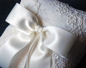 Ring Bearer Pillow - Light Ivory Ring Pillow with Lace Overlay and Light Ivory Ribbon Bow - Keira