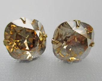 Golden Champagne Crystal Earrings - Swarovski Stud Earrings - Golden Shadow Crystal Earrings - Bridesmaid Gift - JOLIE Golden Champagne