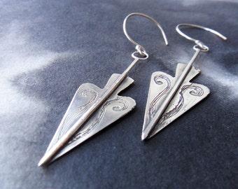 Freyja sterling silver etched spear earrings