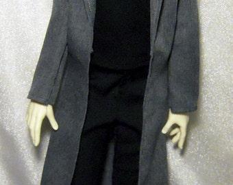 Gray long coat for SD boy dollfie, 1/3 bjd DOLL