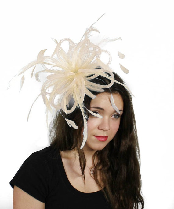 Cream Fluffy Crin with Burnt Coq Feathers Fascinator Hat for Weddings, Races, and Special Events With Headband