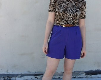 Purple Violet Belted Shorts High Waist Vintage 80s Small