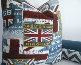 GIFT PILLOW-UK Decorative Designer Pillow Cover- Novelty Great Britain Throw /Lumbar Pillow -Denim Blues/ Red / Gold/ Ivory/Grey