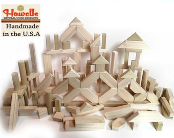 112 Pieces Natural Wood Building Blocks - Classic Toy Blocks - Natural - Safe - Eco-Friendly - 4 NEW PIECES