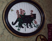 Framed Kitty - Shadow in The Flowers- Cat Hand Appliqued and Embroidred and Quilted