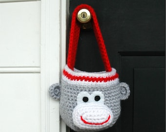 Basket Crochet Pattern - Monkey Crochet Pattern - Sock Monkey - Easter Basket - Halloween Crochet Pattern - PDF INSTANT DOWNLOAD