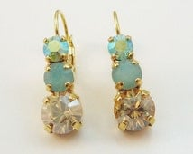 """Mint Green brown Crystal earrings Mint Sea foam Green Champagne drop earrings Swarovski crystals, """"SPICY SAGE"""" collection, Gold finish,GE45"""