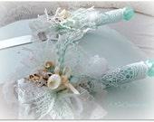 Mermaid Wedding Cake Knife and Server Set - Aqua Beach Wedding