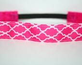 Hot Pink Quatrefoil No Slip Headband