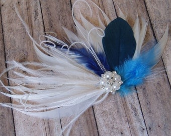 Blue Wedding Hair Piece Accessory, ivory hair clip, Bridal Hair Piece Bridal Headpiece, Feather Hair Piece, Wedding Hair Accessories