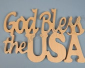 """God Bless The USA Wooden Decoration 1/2"""""""