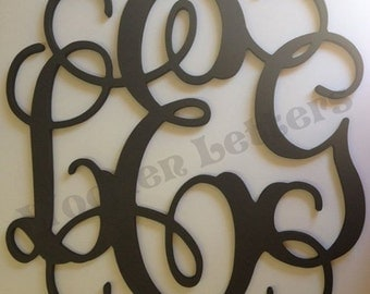 Painted Wood Vine Connected Monogram Letters