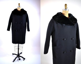 1960s coat vintage 60s black mod double breasted fur collar coat XL