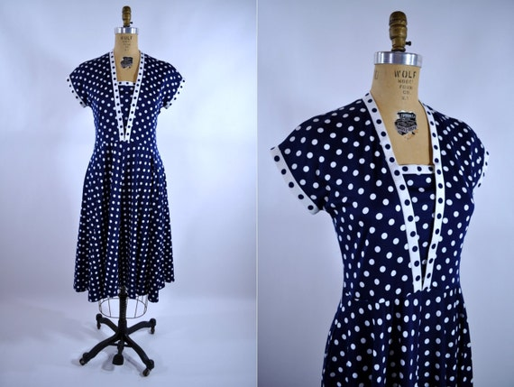 vintage polka dot dress 1980s navy blue S/M