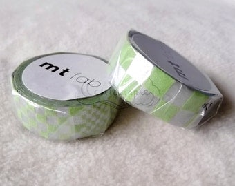 mt Washi Masking Tape - mt fab Fuzzy Flocky Print - Blue Lines / Green Squares