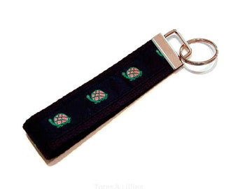 Preppy Little Turtle on Navy Key Fob Keychain