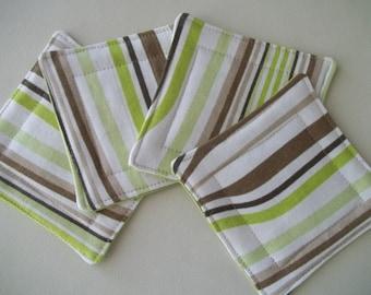 Fabric Coaster Set of 4 ~ Wavy Stripe ~ Abstract Fabric Coaster