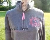 Monogrammed 3 Initial Pullover Fleece Quarter Zip Sweatshirt-School-Bridesmaid Gift-Teacher-Uniform