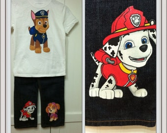 Custom Painted Paw Patrol shirt and jean set Sizes 6m to 24 mo, 2T to 10