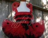 Ladybug Petti Romper - Ladybug Costume - LadyBug Lace Romper, Ladybug Halloween Costume, Wings & Legwarmers Too (TUTU NOT INCLUDED)