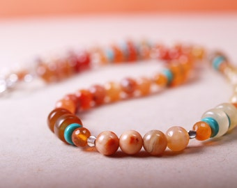 Sand and sky ombre carnelian and turquoise necklace
