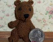 Miniature Crochet Medium Brown Bear Thread Artist Bear  Ready to Ship