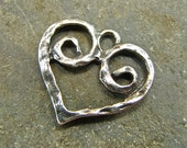 Rustic Spirals - Artisan Sterling Heart Charm or Petite Pendant - One Piece - crsh