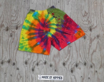 Rainbow Spiral Tie Dye Cotton Shorts (Co Max Sportswear Size S) (One of a Kind)