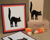 BLACK CAT-Wood Mounted Rubber Stamp (mcrs 24-22)