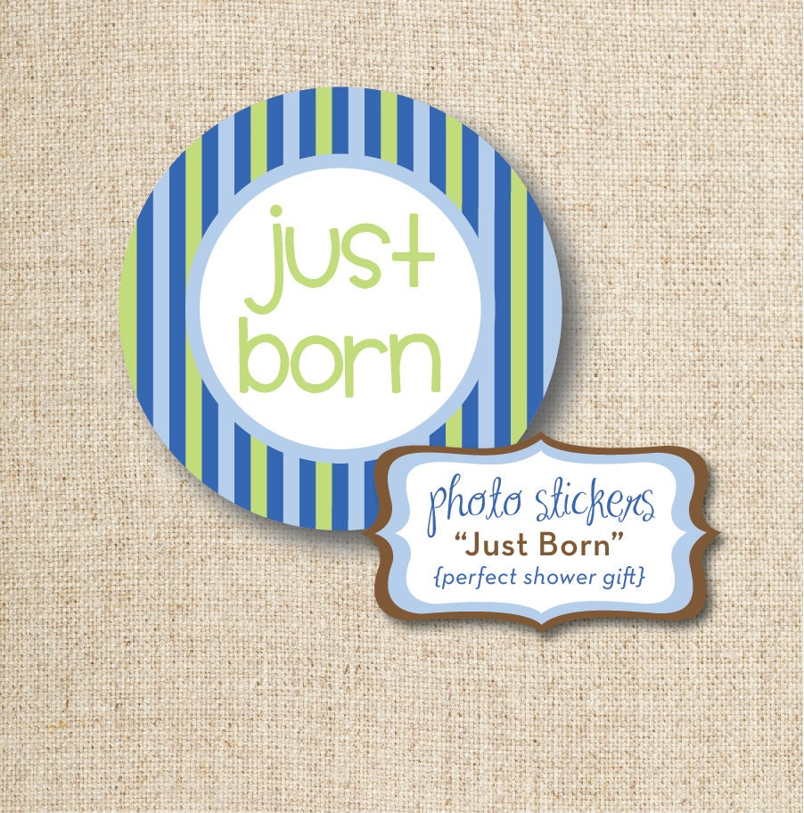 Just Born Baby Gift Ideas : Baby quot just born photo sticker design digital diy file
