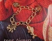 50s Inspired Charm Bracelet - Gold Tone - Vintage Charms - Mid Century - VLV - OOAK