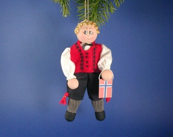 Norwegian Boy Clothespin Doll Ornament