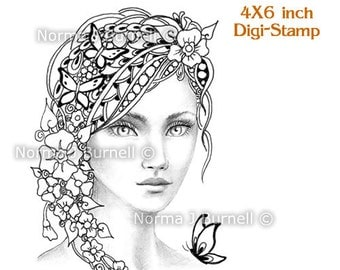 Forget-Me-Nots Fairy Tangles by Norma J Burnell Printable Digi Stamp Digital Stamps Fairy by Norma J Burnell Grayscale image for coloring