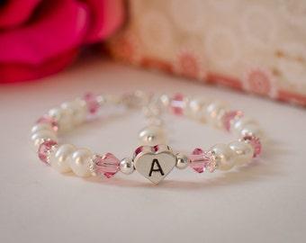 Heart initial white and pink baby girl toddler flower girl bracelet