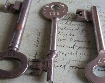 Skeleton Keys - Vintage Antique keys-  Barrel keys- Steampunk - Altered art t7