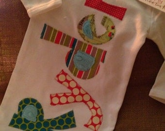 Personalized appliqué infant baby boy gown