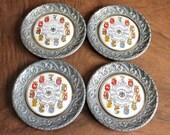 4 Vintage German coasters, antique silver coasters, Germany Deutschland coasters