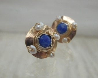 Lapis Golden Dome Stud Earrings, Gold Filled Stud Earrings, Pearl Lapis Gemstone Earrings, Post Earrings