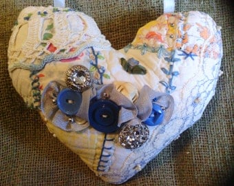 Small Silver Sparkly Blue Heart Crazy Quilt Pillow