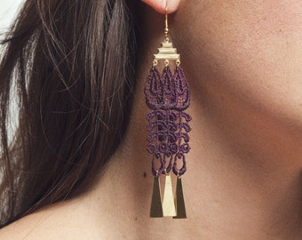 Lace earrings - ANGKOR - Black lace with brass