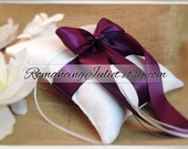 Romantic Satin Ring Bearer Pillow...You Choose the Colors...Buy One Get One Half Off...shown in white/plum aubergine