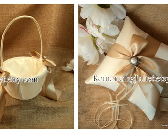 Elite Satin Ring Pillow and Flower Girl Basket Set with Delicate Pearl Accent...You Choose the Colors...shown in ivory/champagne
