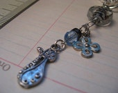 Christmas Gift - REPURPOSED Blue Kitty  -  Zipper Pulls or Fan Pull