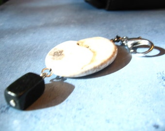 BOLD Series - Large Magnesite Stone and Black Onyx - Zipper Pull or Fan pull