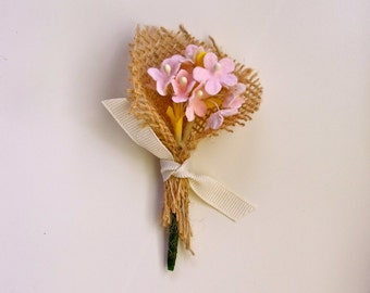 burlap boutonniere with vintage flowers // boutineer for wedding