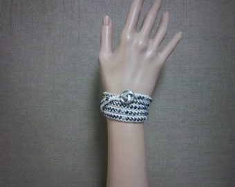 Beaded Wrap Bracelet in Natural with Glass Beads - Ready To Ship Crocheted Necklace Cream