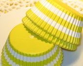 Yellow Bold Rugby Stripe Cupcake Liners  (Qty 45)  Yellow Stripe Cupcake Liners, Yellow Stripe Baking Cups, Yellow Muffin Cups, Baking Cups