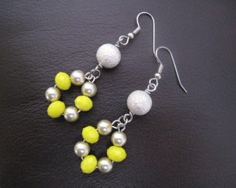 Yellow Crystal Circle Earrings
