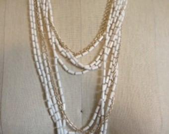 White Multi strand Vintage Necklace